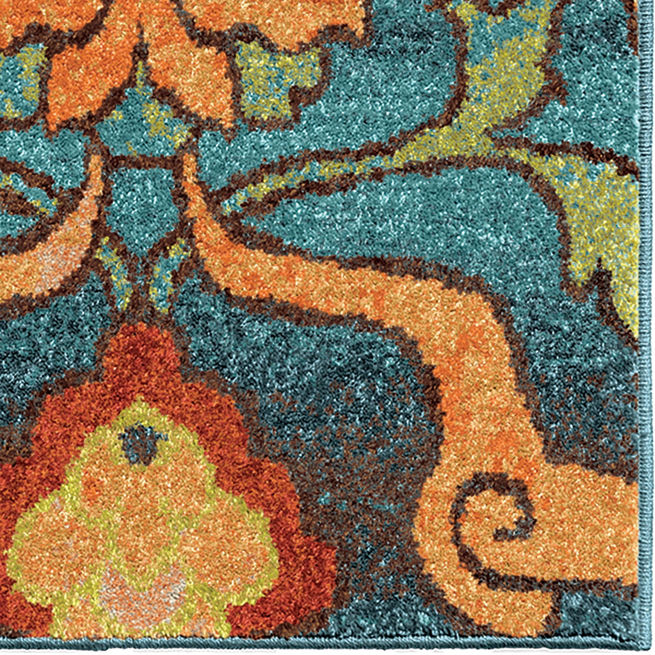 Orian rugs bright color floral tibet blue area large rug for Bright floral area rugs