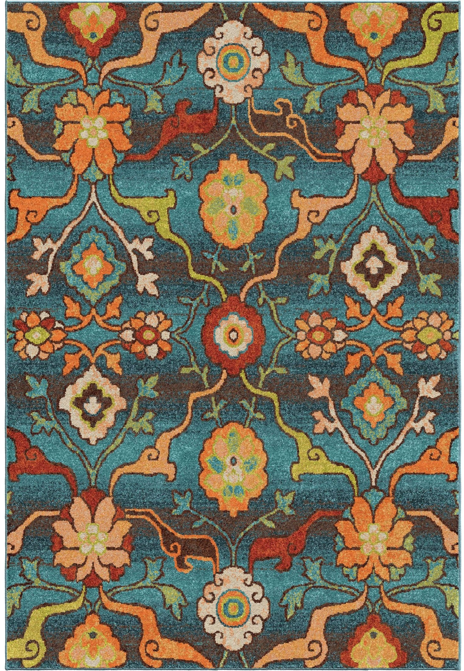 Orian rugs bright color floral tibet blue area small rug for Bright floral area rugs