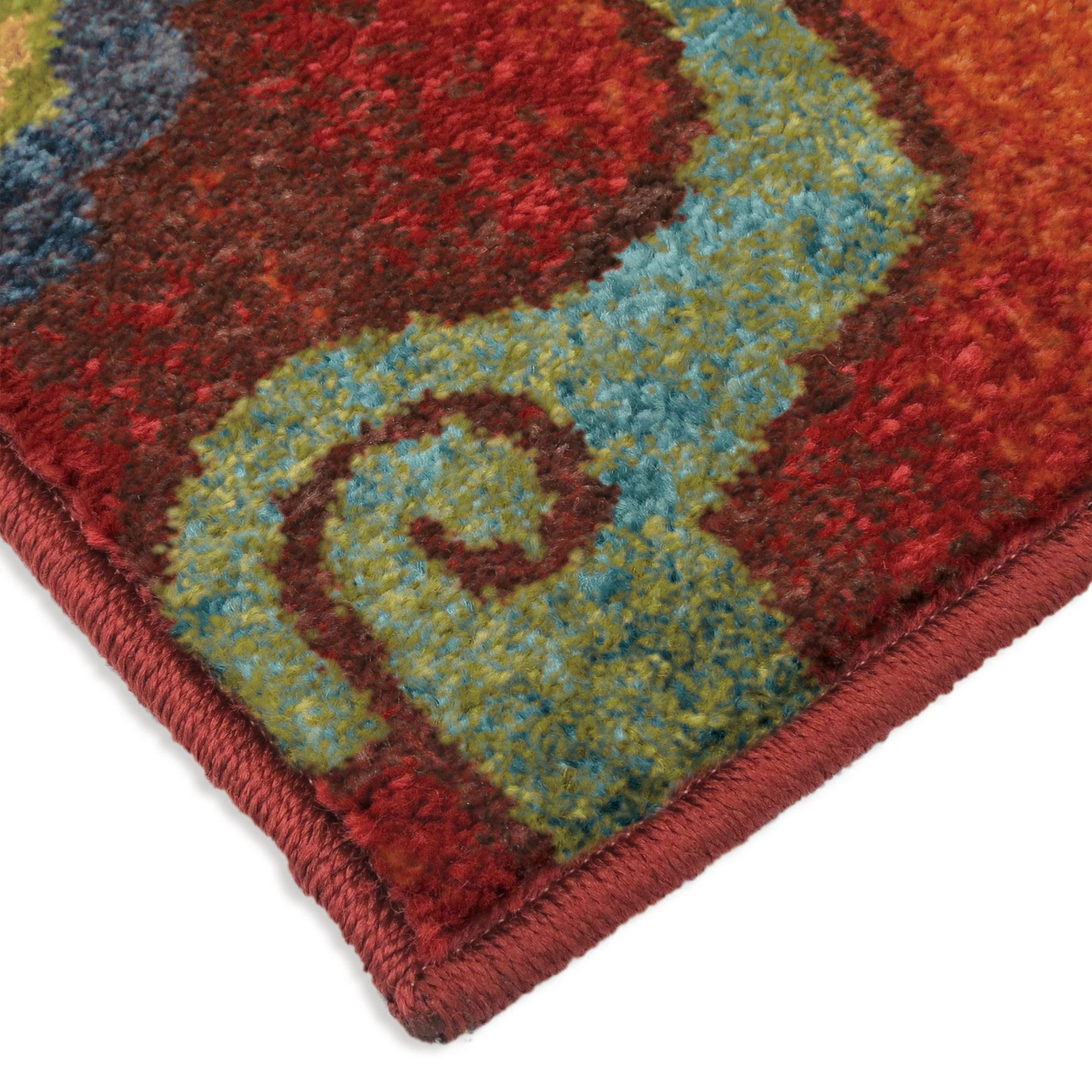 Orian rugs bright color floral tibet red area large rug for Bright floral area rugs