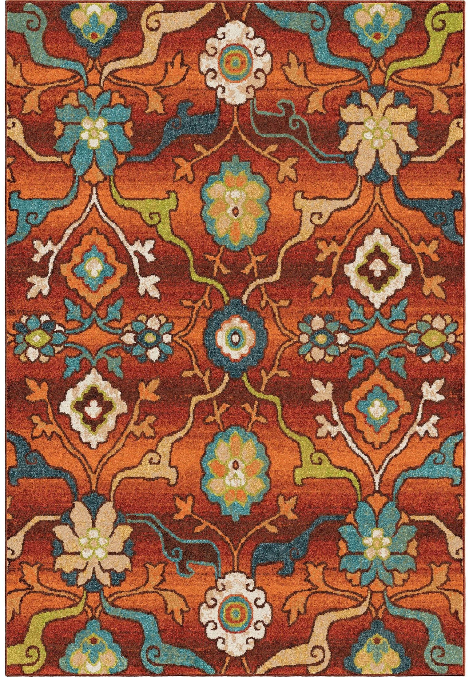 Orian rugs bright color floral tibet red area small rug for Bright floral area rugs