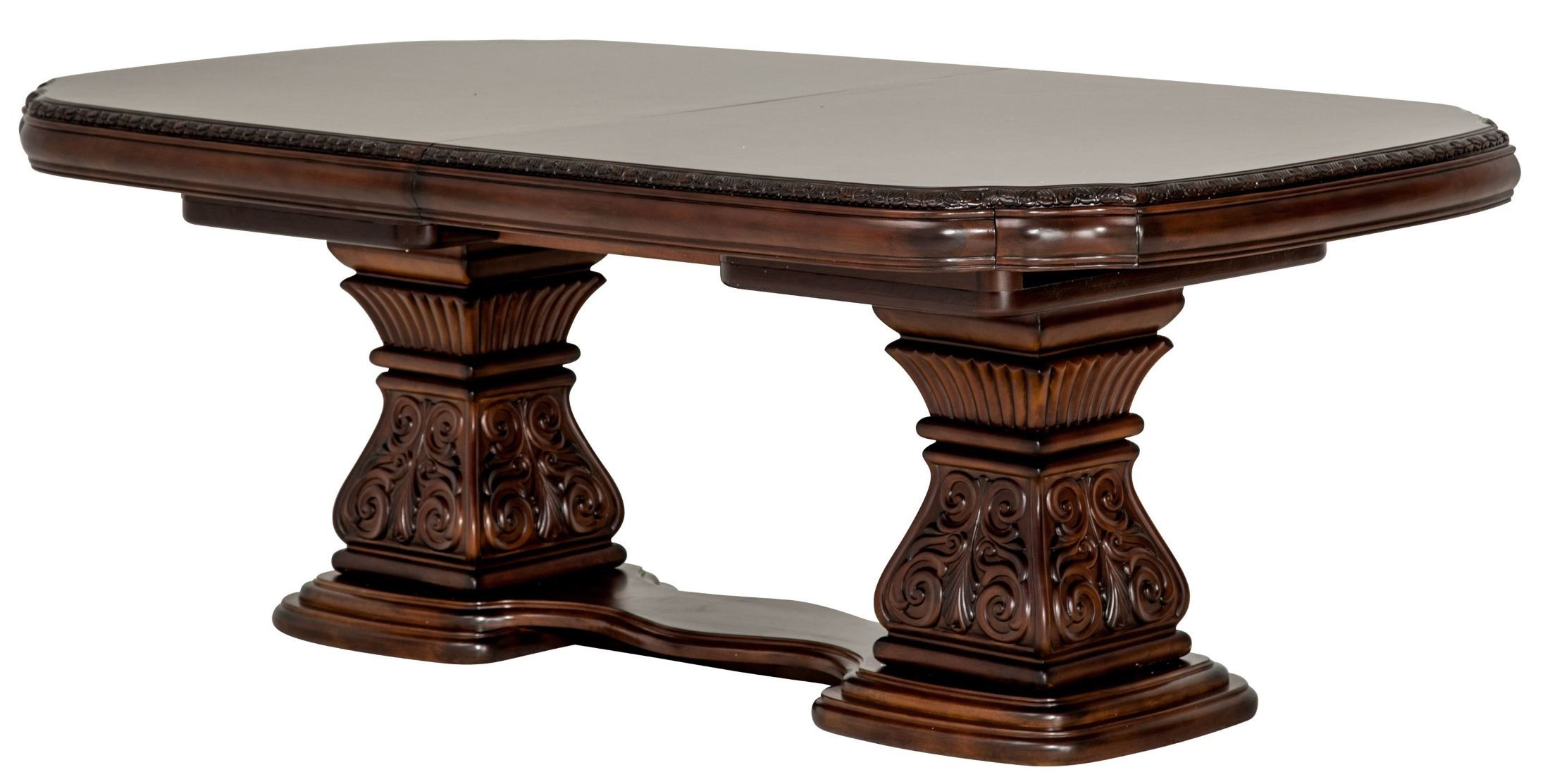 Villagio double pedestal rectangular dining table from aico 58002 coleman furniture - Rectangle pedestal dining table ...