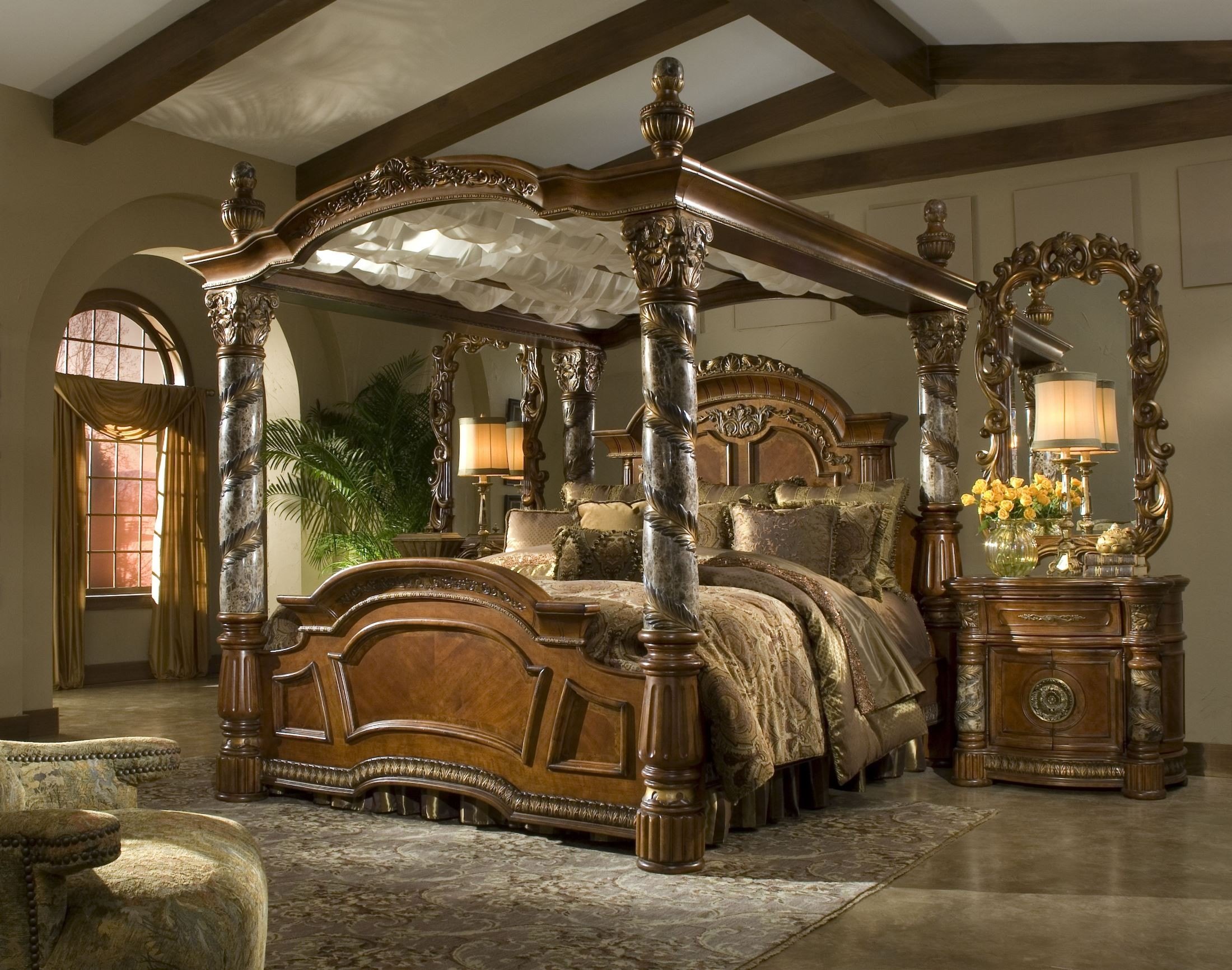 villa valencia king poster canopy bed from aico 72000can coleman furniture