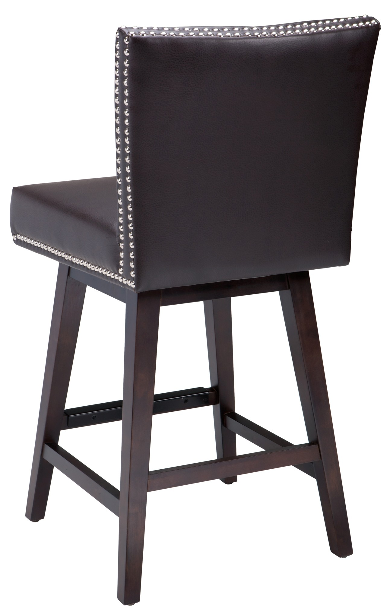 Vintage Swivel Counter Leather Stool In Brown From Sunpan