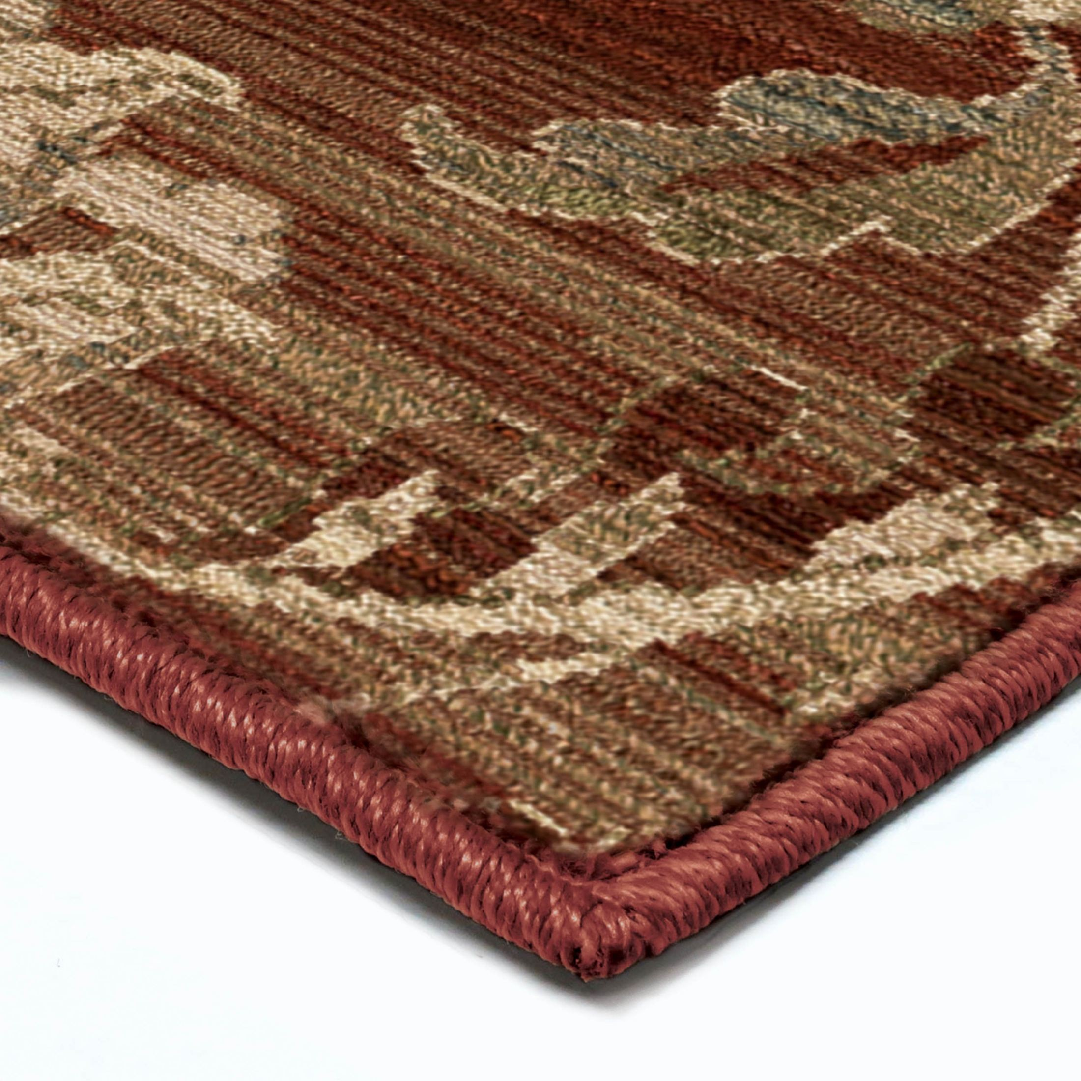 Orian rugs unique designs leaves cae red area extra large for Large red area rugs