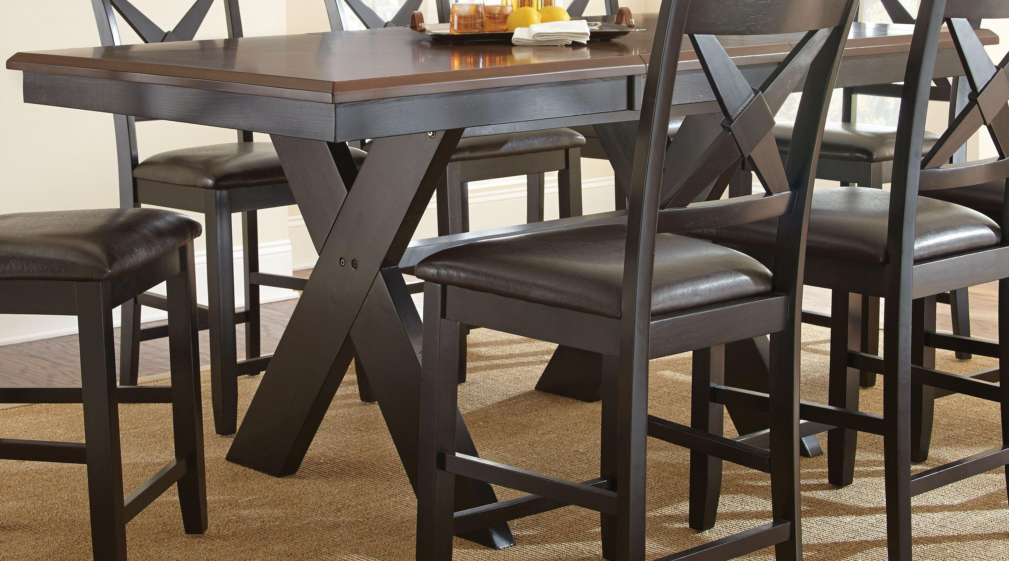 Violante extendable rectangular counter height dining for Counter height extendable dining table