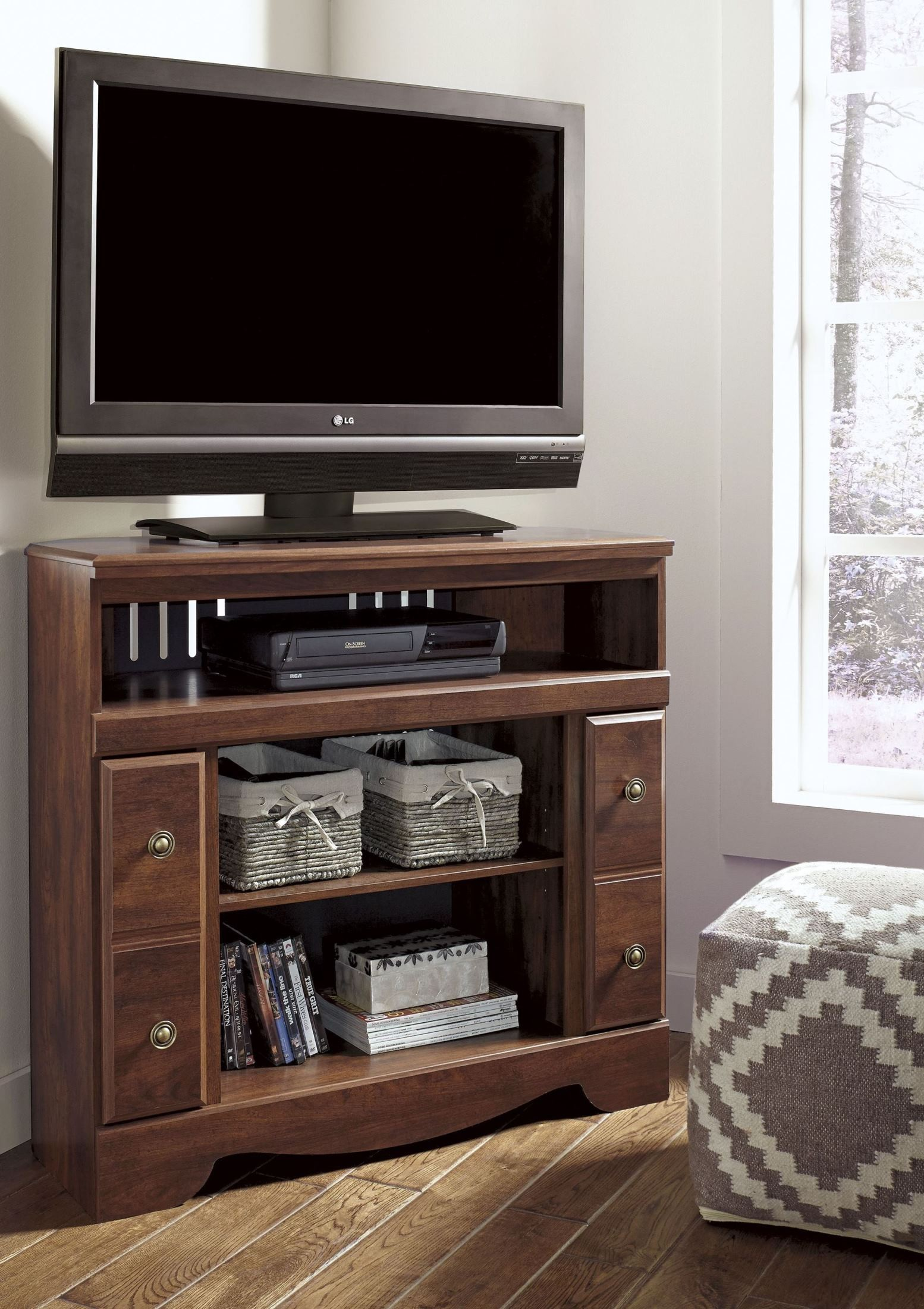 brittberg reddish brown corner tv stand with fireplace