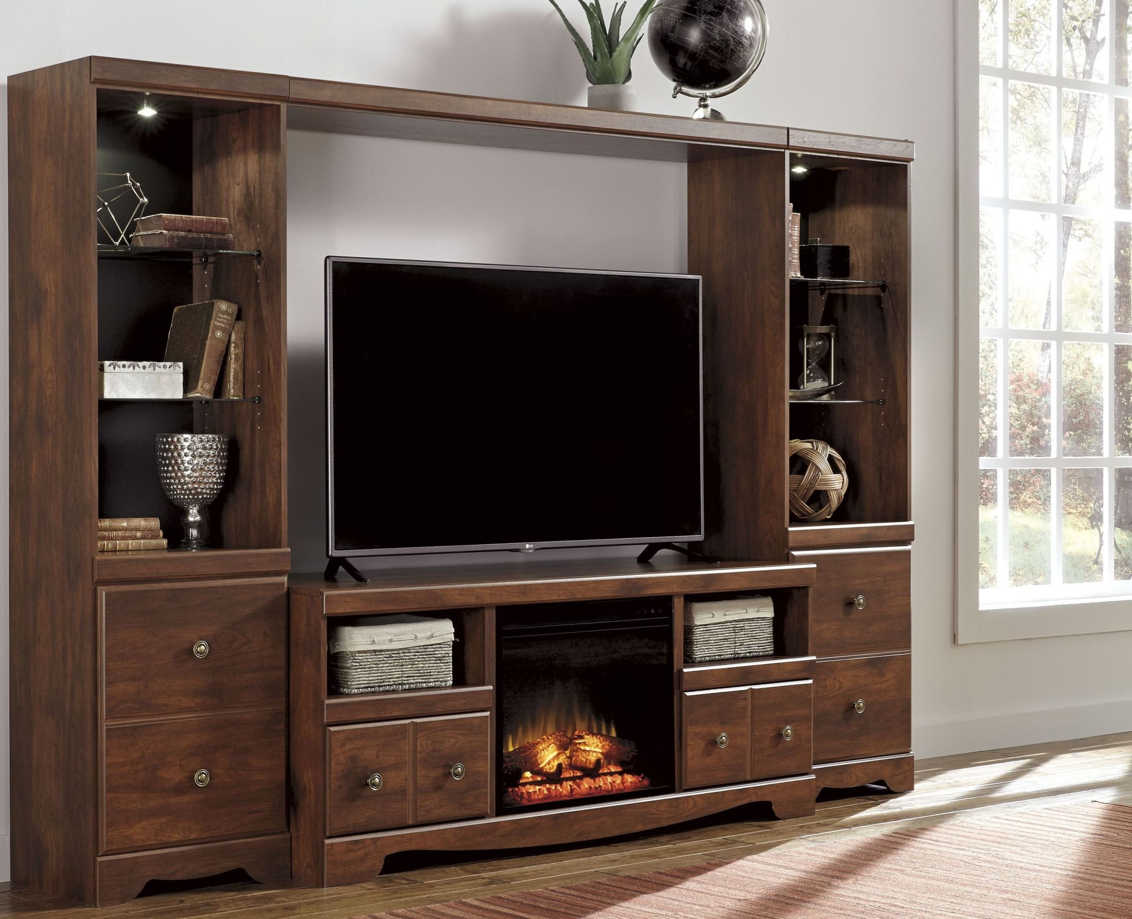 Brittberg Reddish Brown Entertainment Wall Unit From Ashley W265 68 Coleman Furniture