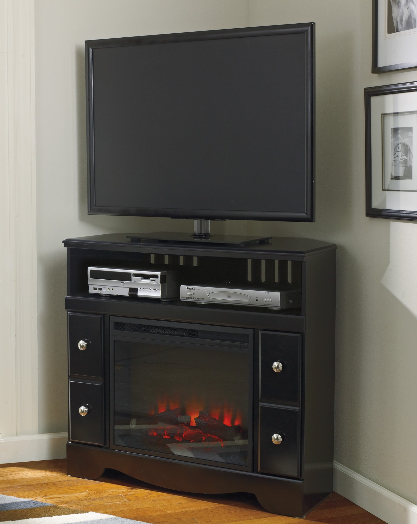 shay corner tv stand with fireplace insert w271 12 w100