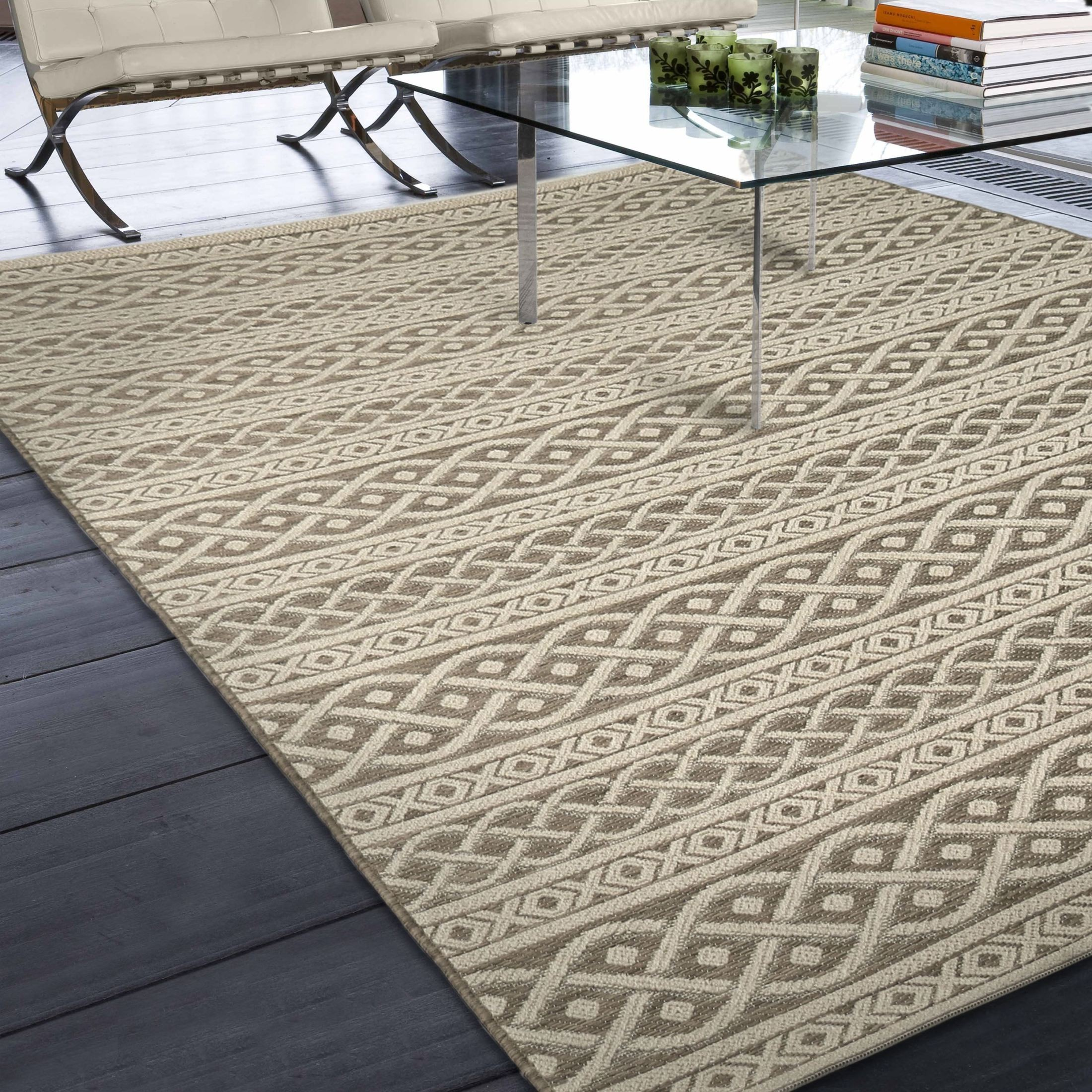 Orian Rugs Indoor Outdoor Knit Organic Cable tan Area