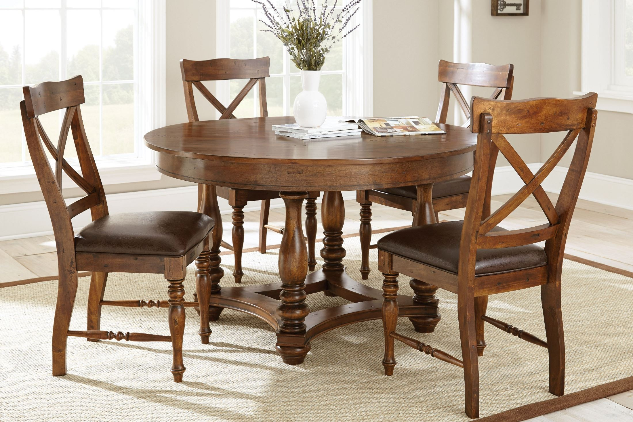 Wyndham medium cherry round dining room set from steve for Cherry dining room set