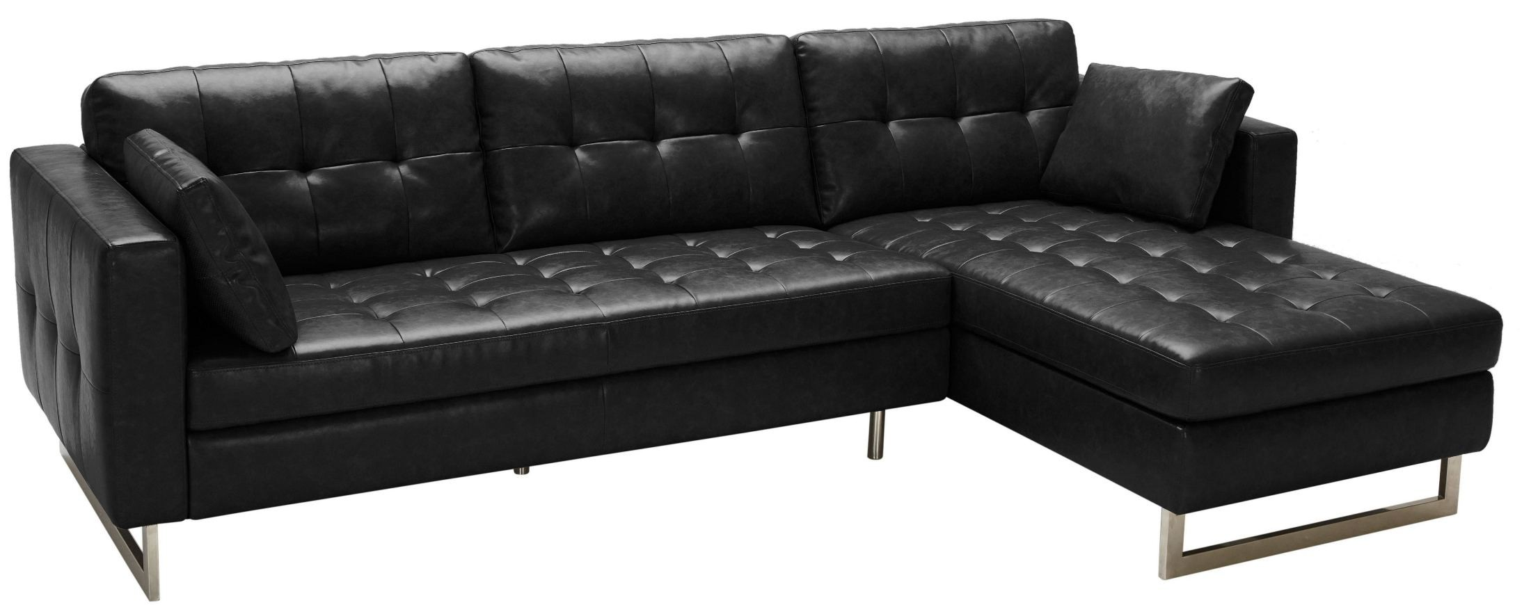Wilson black fog leather sofa chaise 100833 sunpan for Black leather couch with chaise