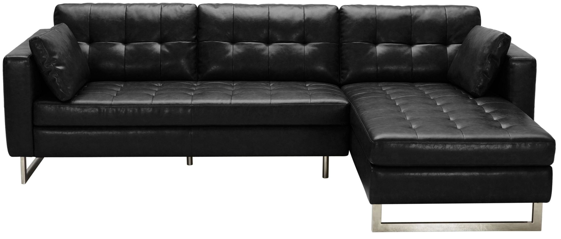 Wilson black fog leather sofa chaise 100833 sunpan for Black sectional with chaise