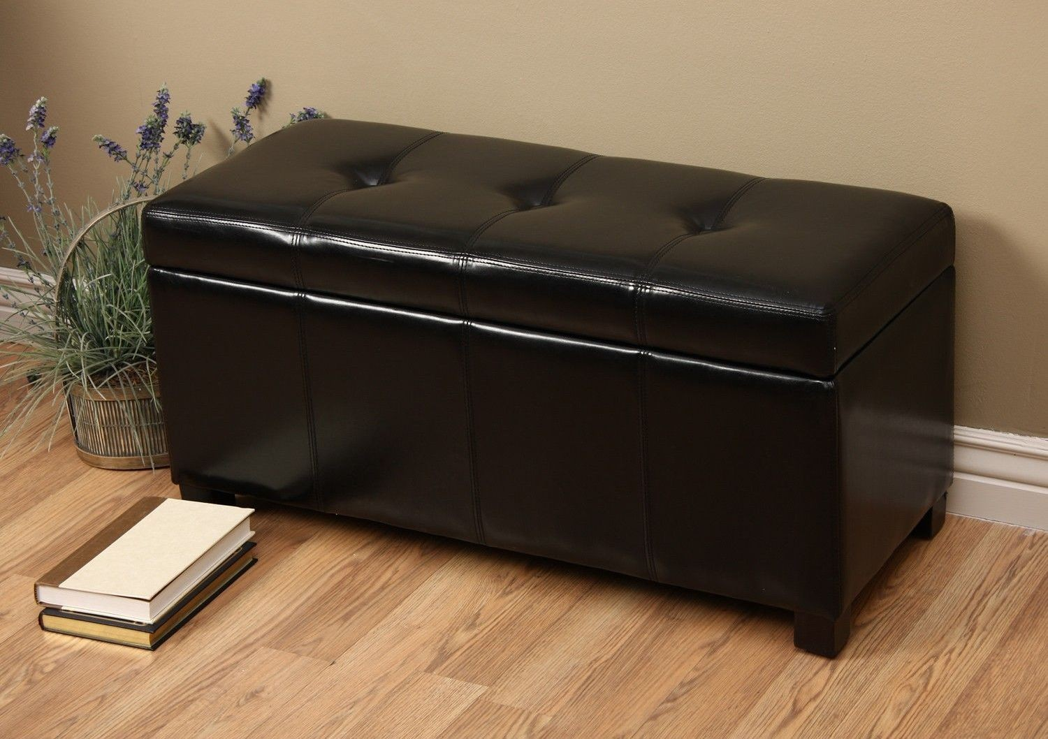Ariel Black Faux Leather Storage Bench Wt M1157 Wb Black Warehouse Of Tiffany