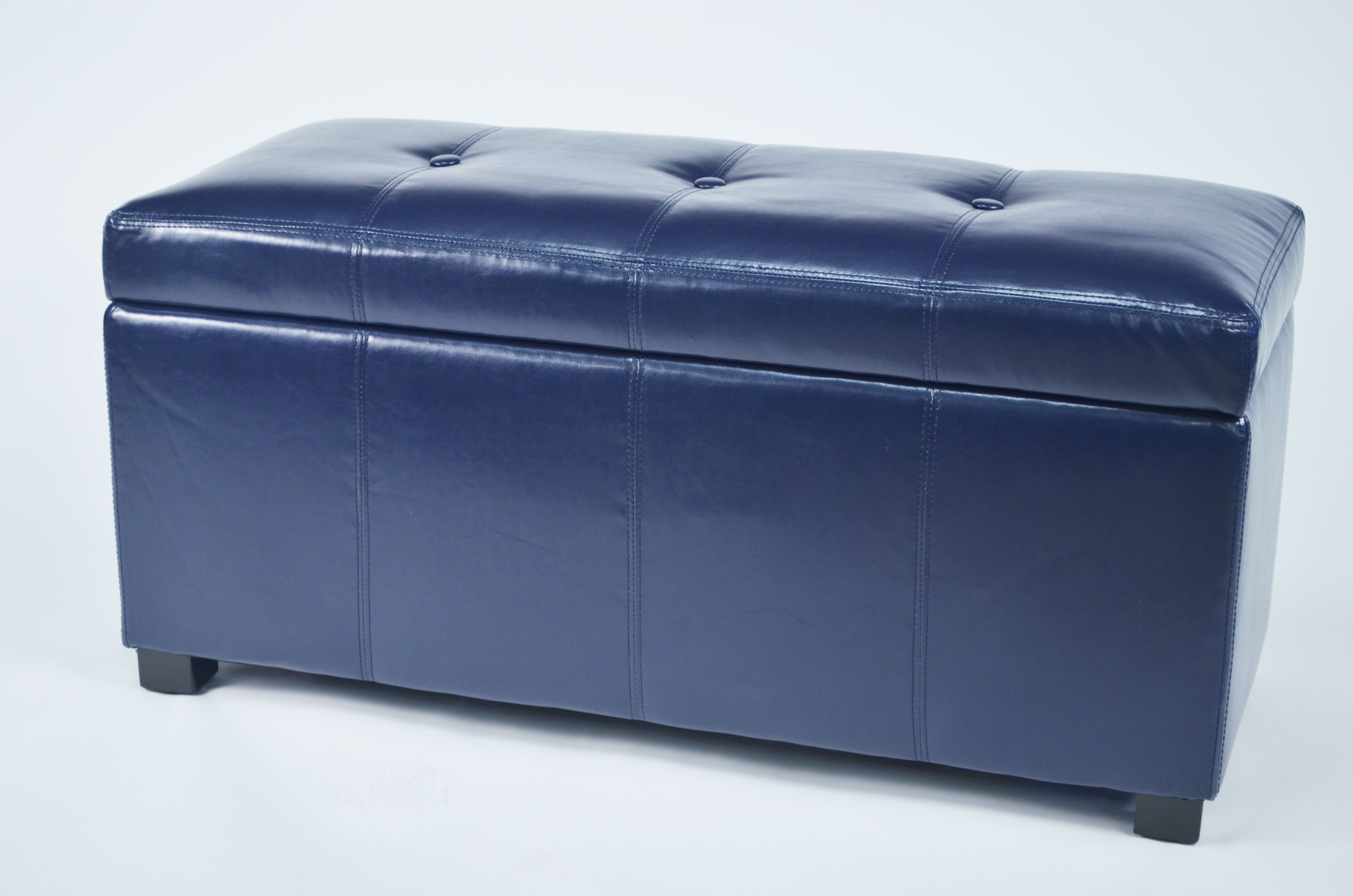 Ariel Dark Blue Faux Leather Tufted Storage Bench From Warehouse Of Tiffany Wt M1157 Wb Drk