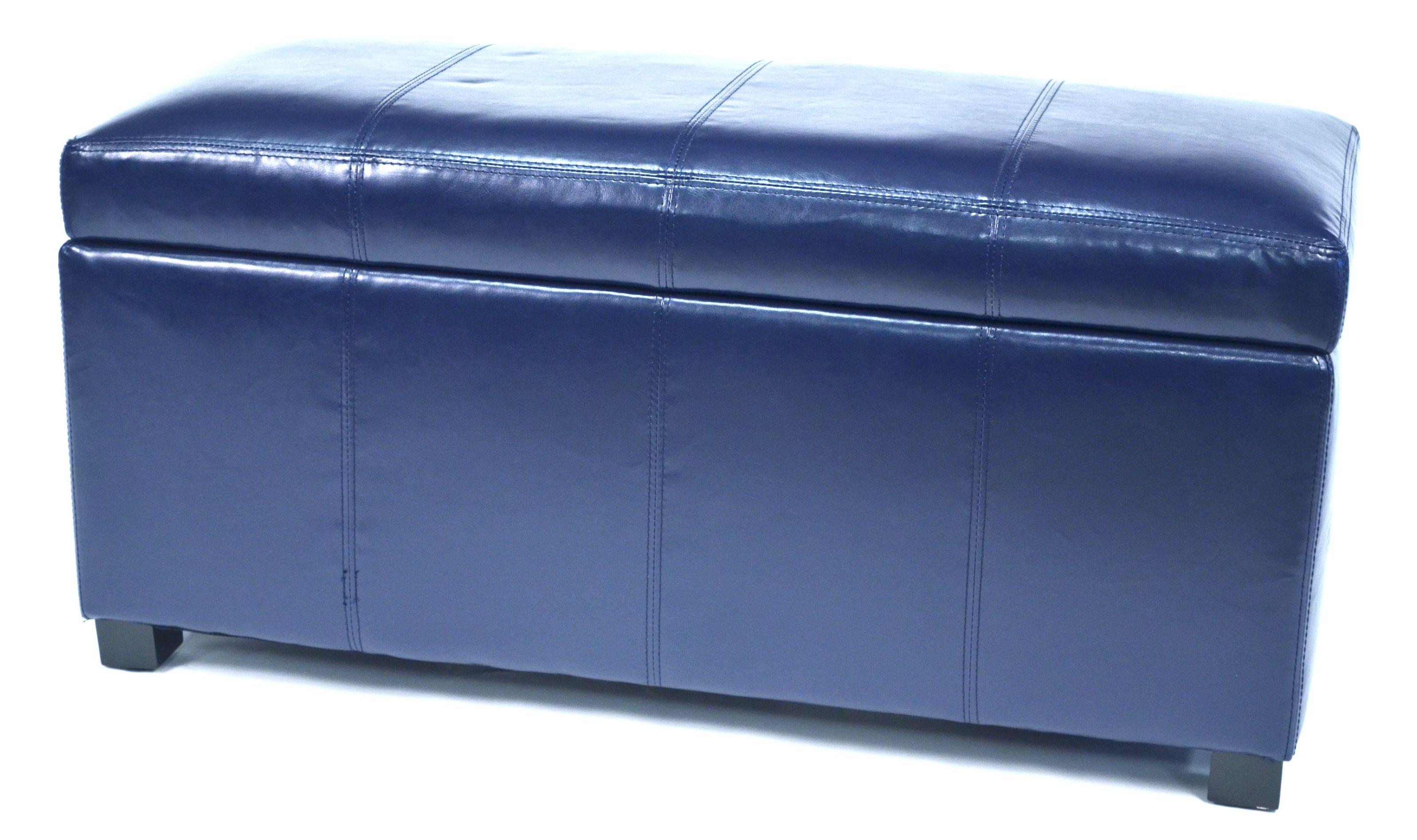 Ariel Dark Blue Faux Leather Storage Bench Wt M1157 Drk Blue Warehouse Of Tiffany