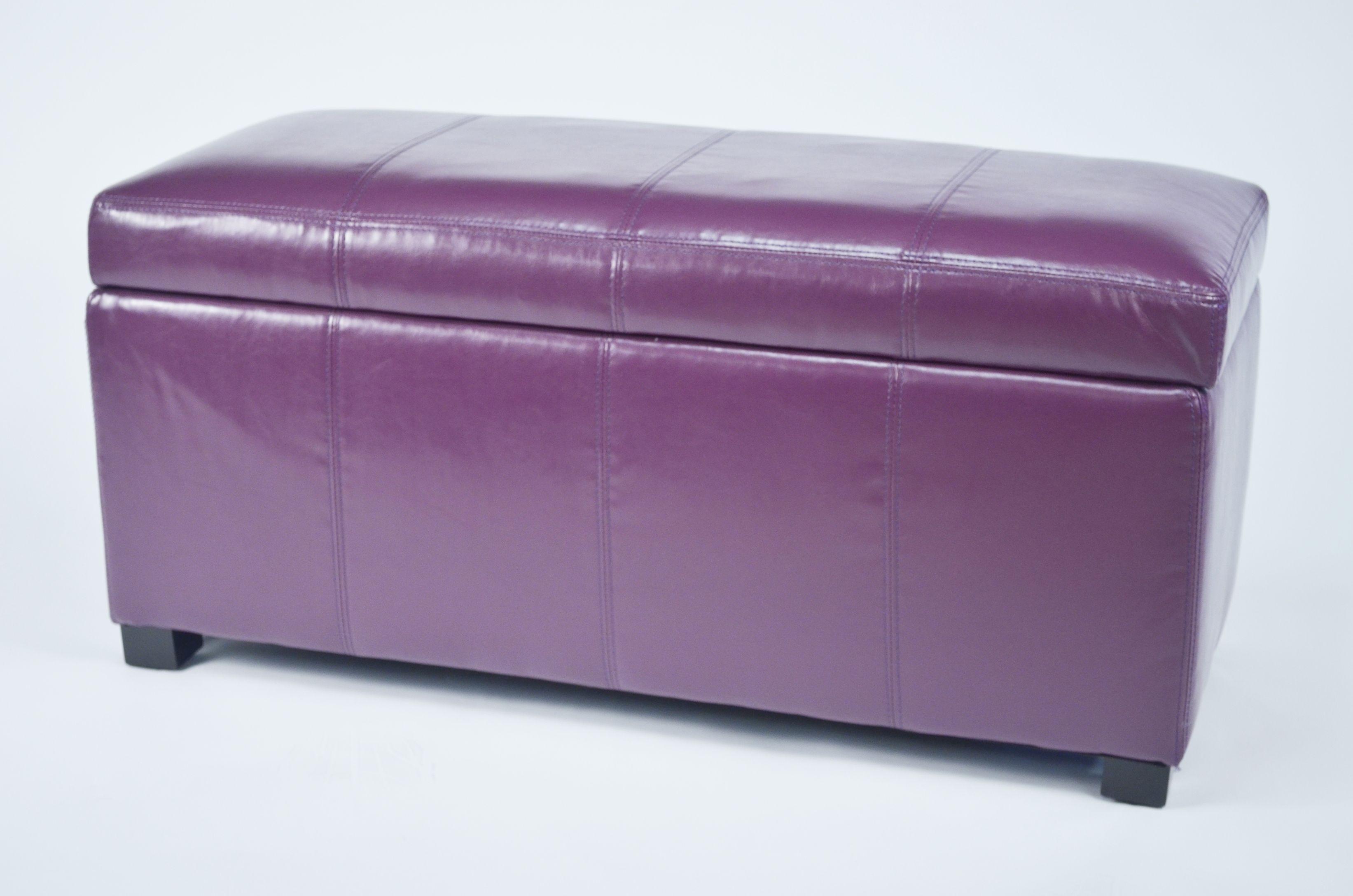 Ariel Purple Faux Leather Storage Bench Wt M1157 Purple Pu Warehouse Of Tiffany