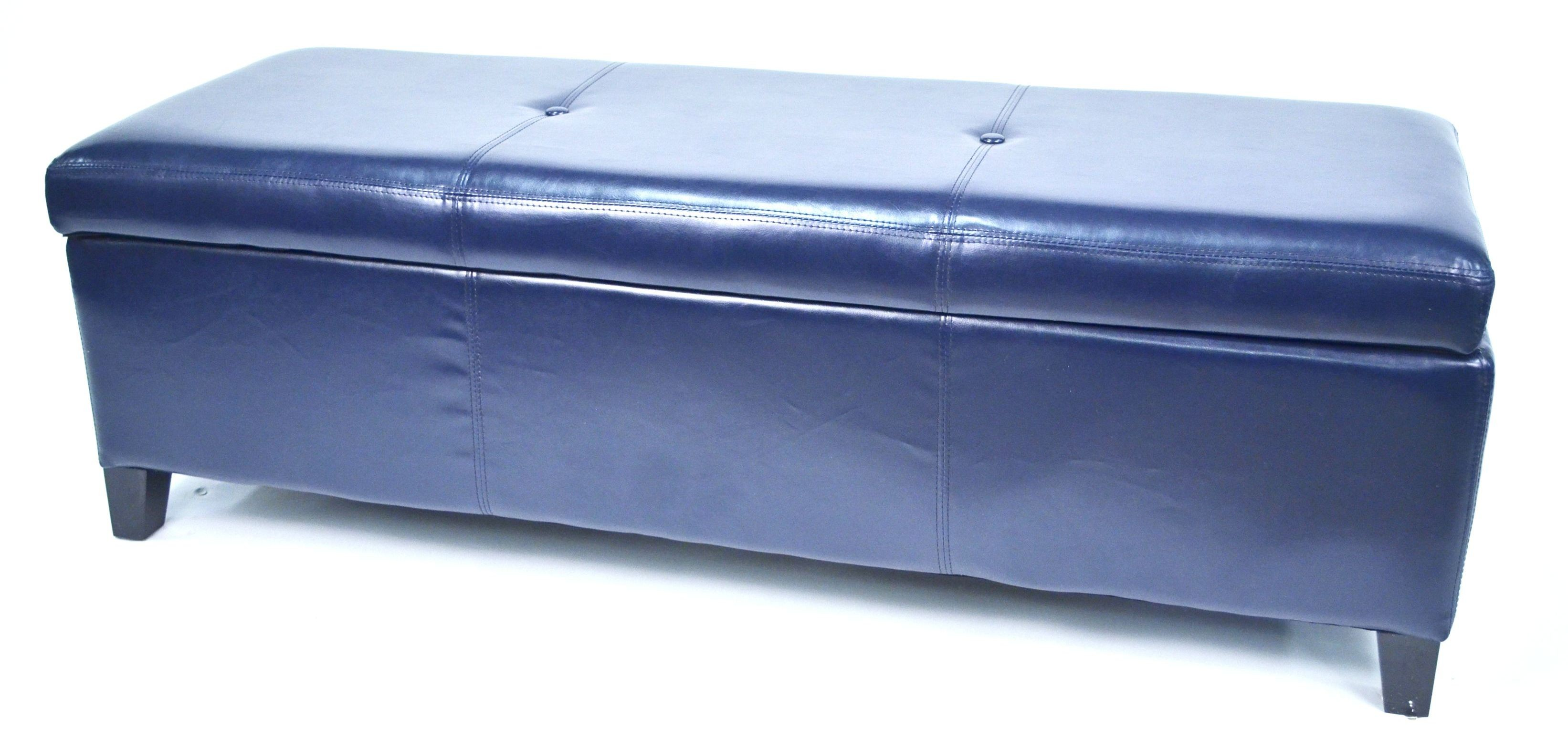 Sharon Dark Blue Button Tufted Faux Leather Storage Bench Wt M7077 Wb Drk Blue Warehouse Of