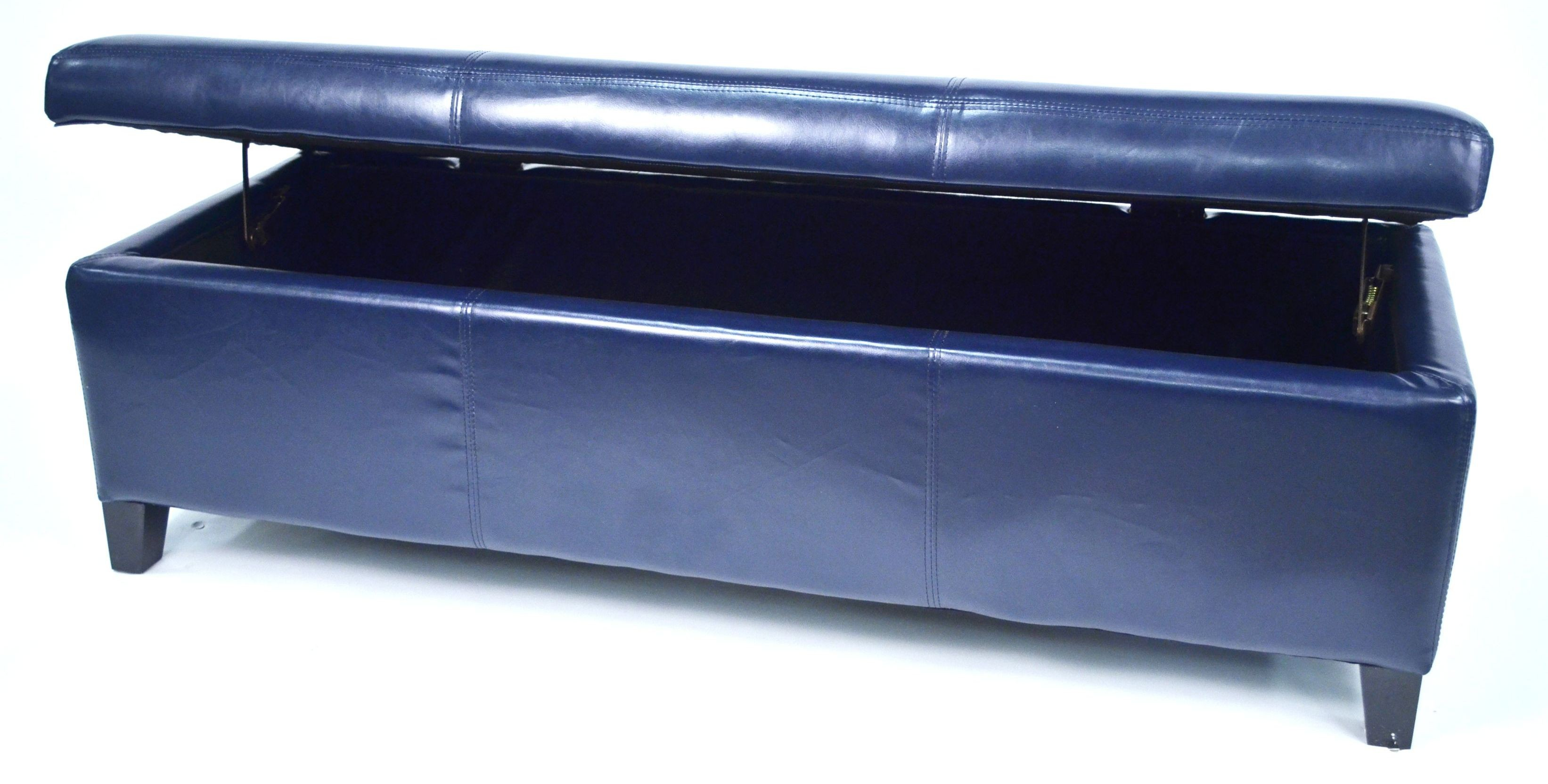 Sharon Dark Blue Faux Leather Storage Bench From Warehouse Of Tiffany Wt W7077 Drk Blue