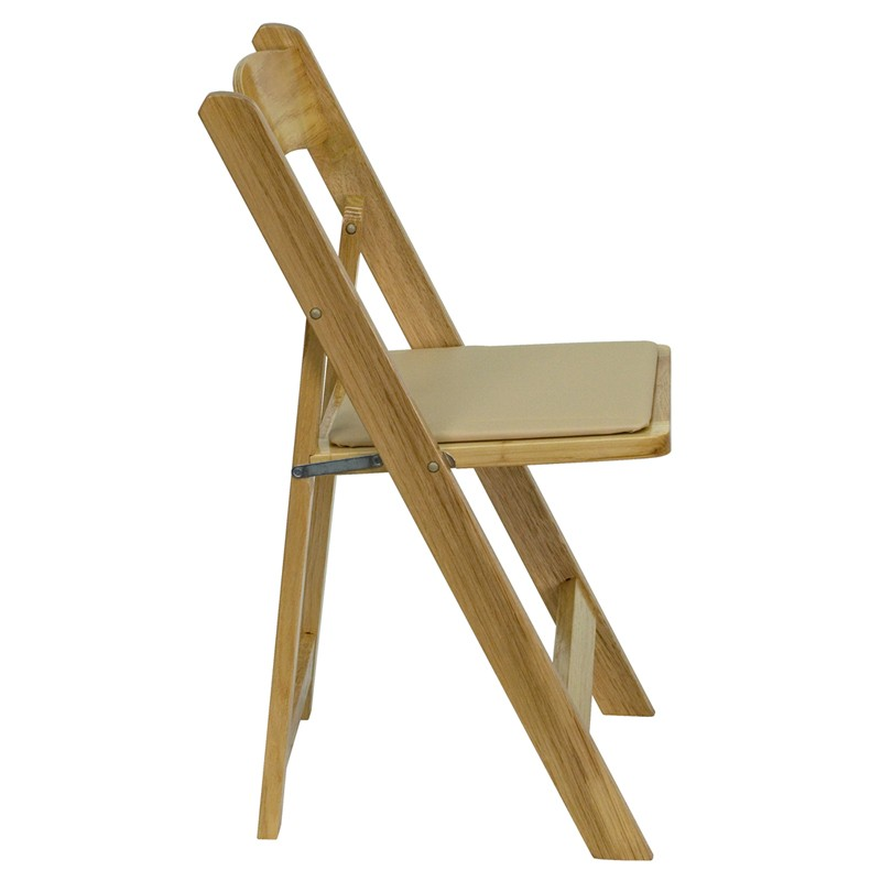 Hercules Natural Wood Folding Chair With Padded Seat From Renegade XF 2903 N