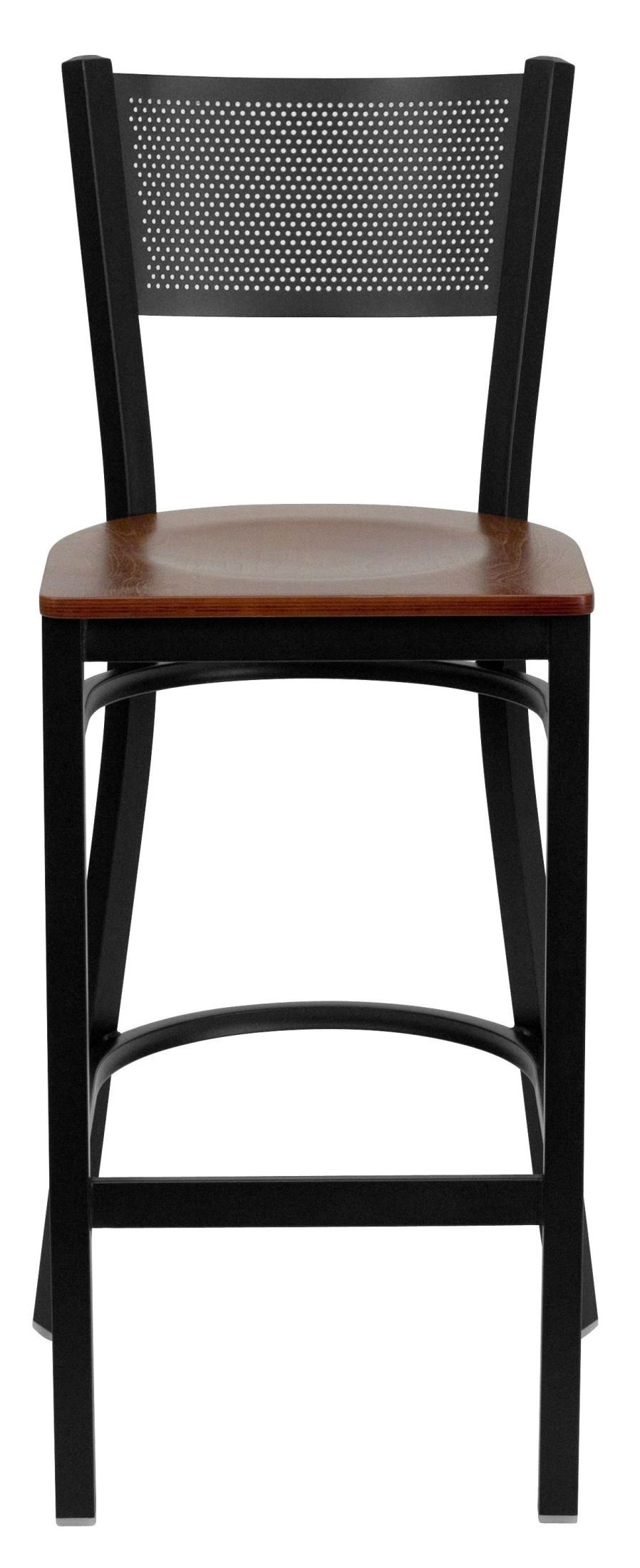Hercules Series Black Grid Back Cherry Wood Restaurant Bar