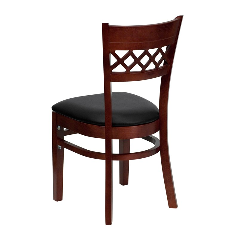 finished lattice back wooden restaurant chair black vinyl seat