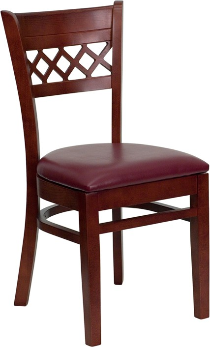 finished lattice back wooden restaurant chair burgundy vinyl seat