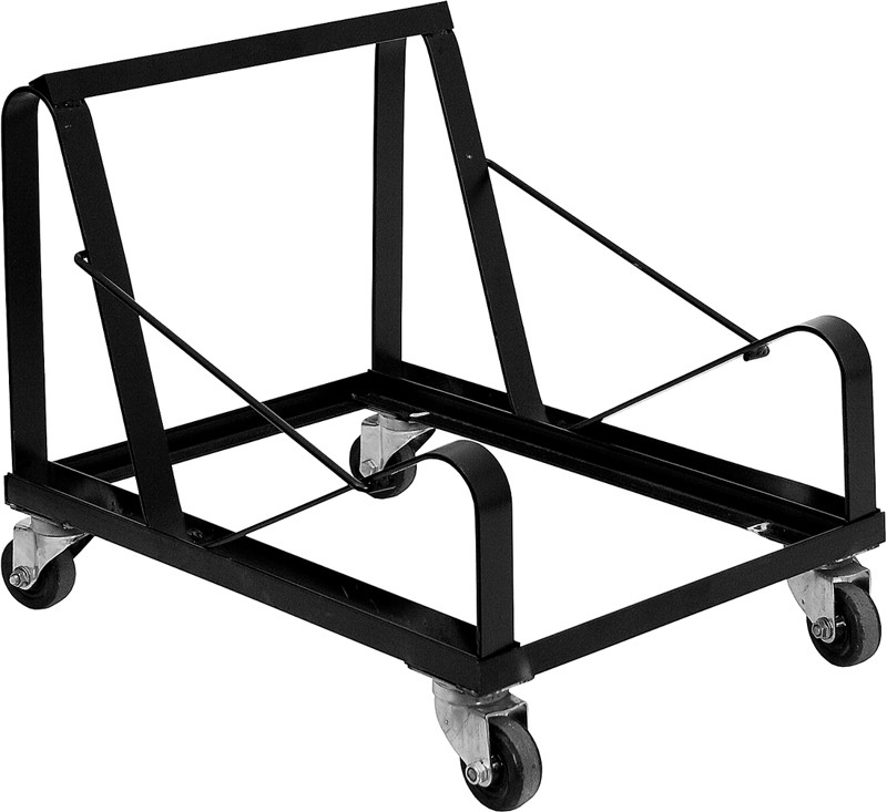 Hercules Black Steel Sled Base Stack Chair Dolly From