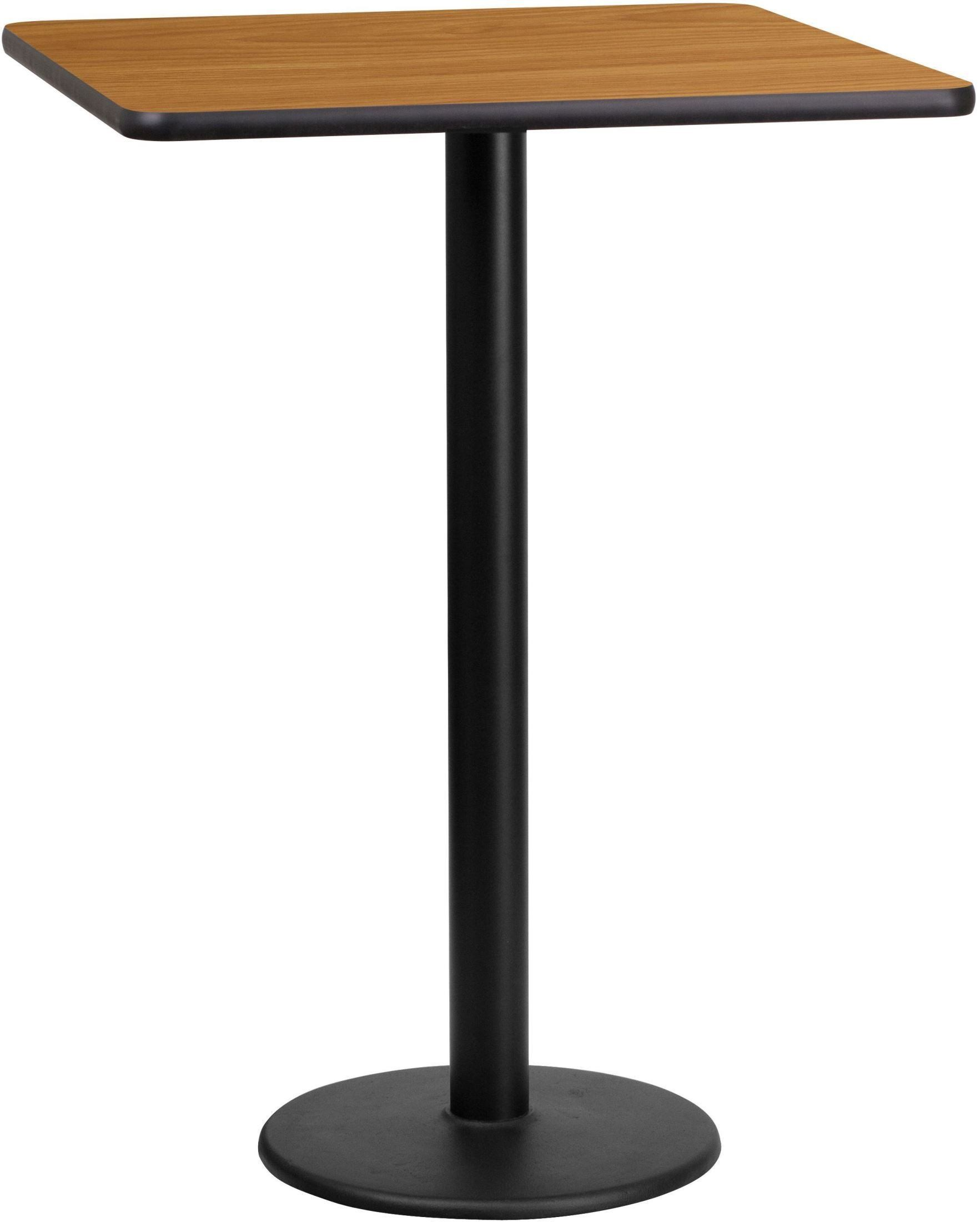 """Coffee Height Square Small Table Base Round: 24"""" Square Natural Laminate Table Top With 18"""" Round Bar"""