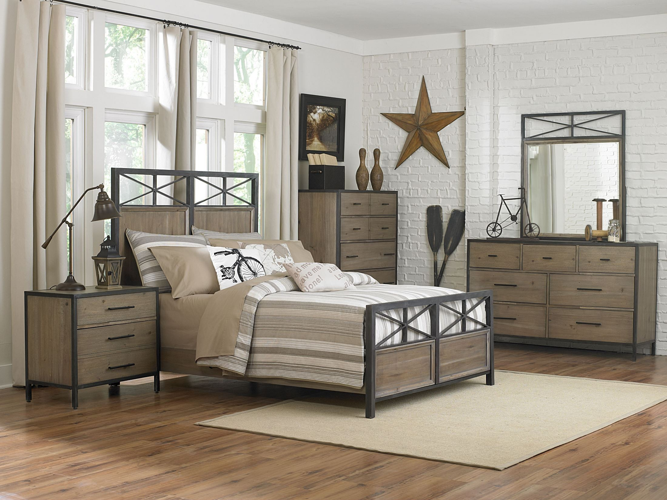 Bailey Metal Wood Panel Bedroom Set Y2159 58H 58F 58R Magnussen Furniture