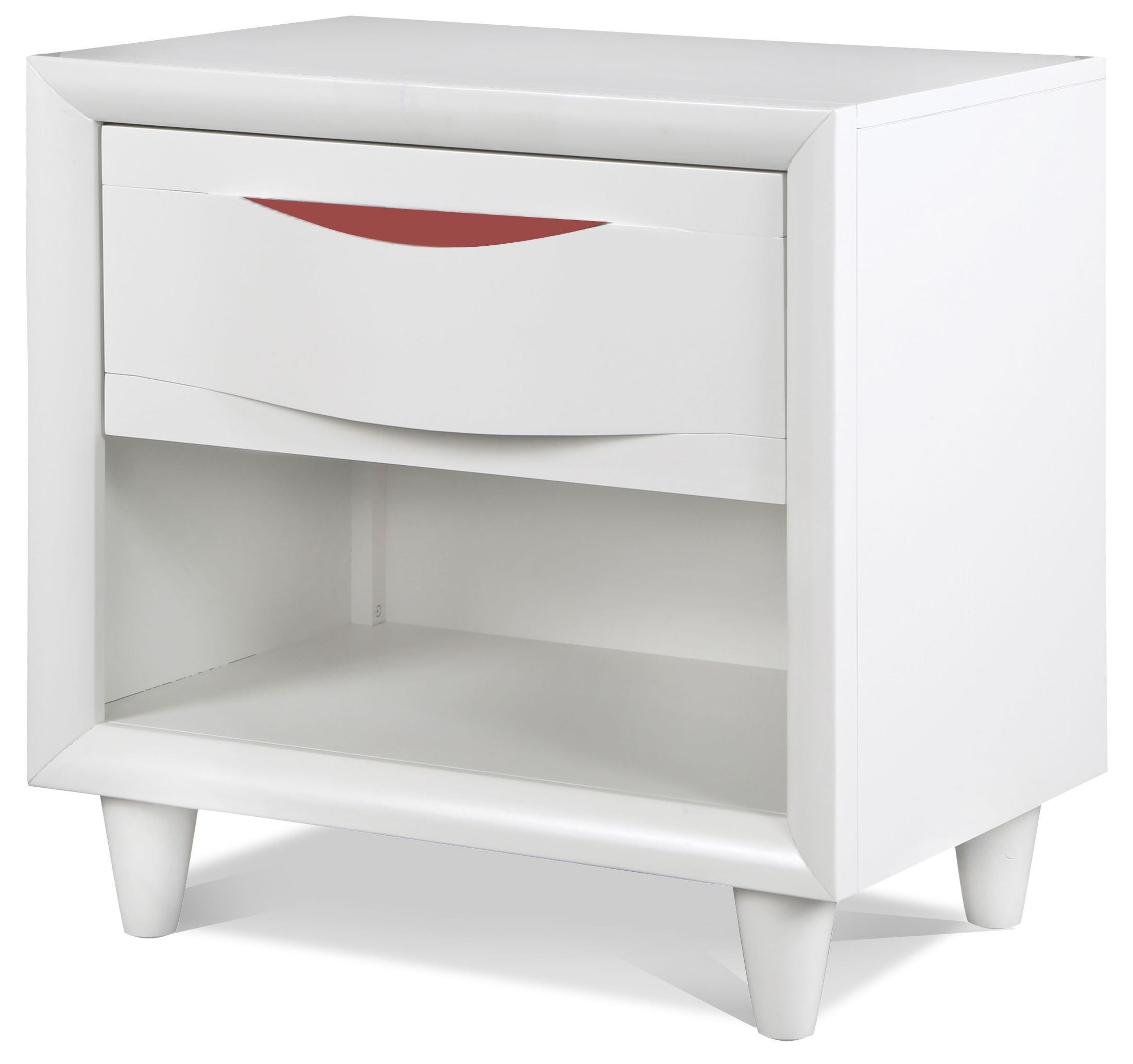 Crayola colors snow white wood open nightstand y2647 05 for White wood nightstand