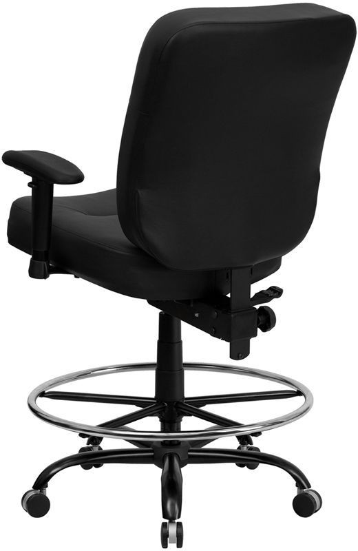 Embroidered Hercules Big Tall Black Adjustable Arm Drafting Chair WL 7