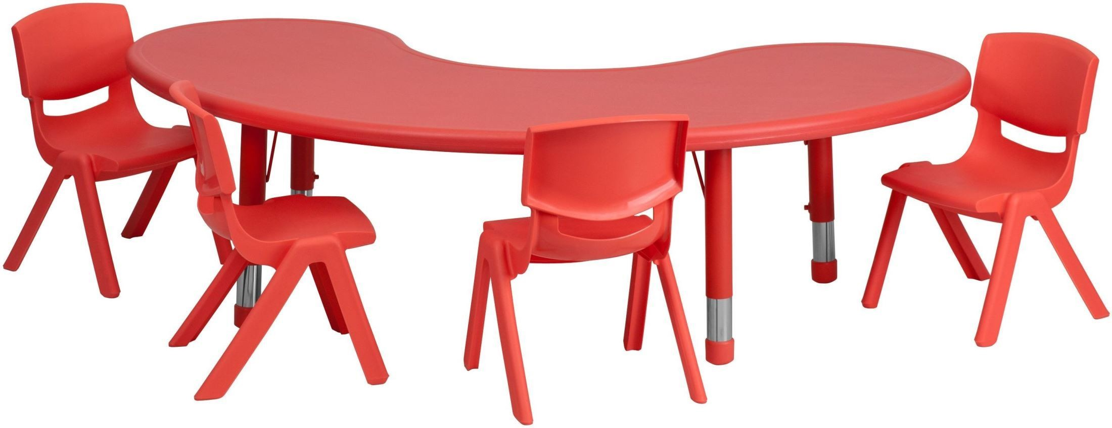 65 adjustable half moon red plastic activity table set for 1 2 moon table