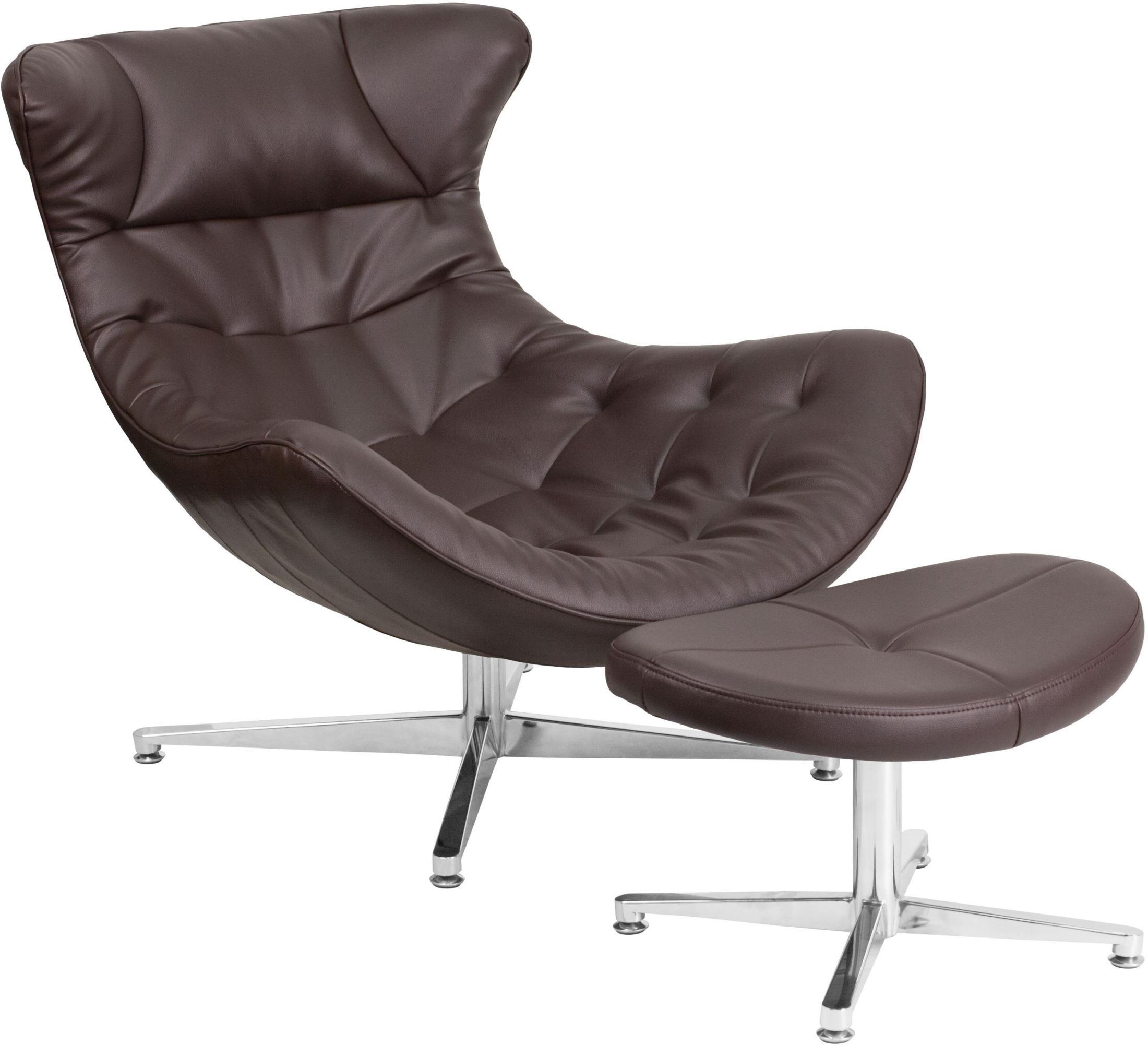 brown leather cocoon chair with ottoman zb 42 cocoon gg