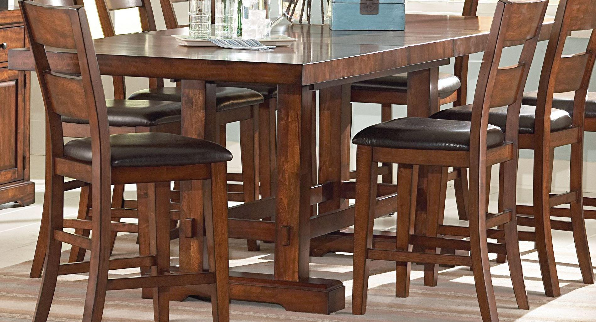 Zappa medium cherry extendable rectangular counter height for Counter height extendable dining table