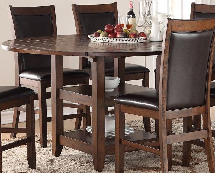 restoration brown 65 round counter height dining table zrst 8060