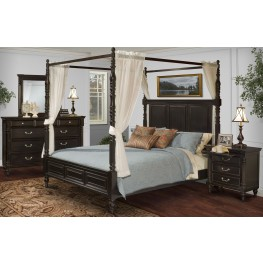 Martinique Rubbed Black Canopy Bedroom Set With Drapes