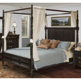 Martinique Rubbed Black Queen Canopy Bed With Drapes