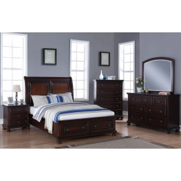Jesse Master Cherry Brown Storage Bedroom Set