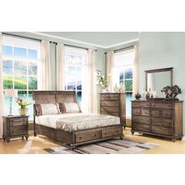Fallbrook Weathered Brown Sleigh Storage Bedroom Set