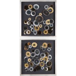 Discs Black Squares Wall Decor Set of 2