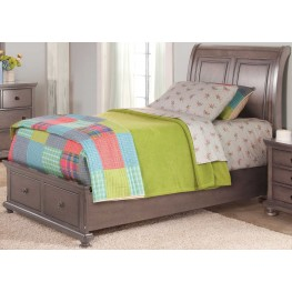 Allegra Youth Pewter Full Sleigh Storage Bed