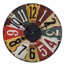"Vintage License Plates 29"" Wall Clock"