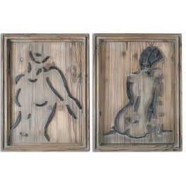 Silhouettes Wood Wall Art Set of 2