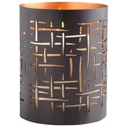 Small Brown and Copper Weave Candleholder