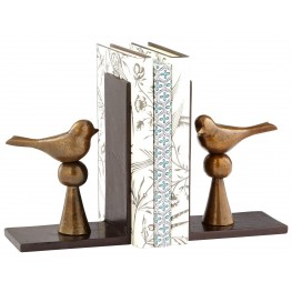 Birds and Books Antique Brass Bookends