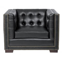 Voltaire Black Leather Armchair