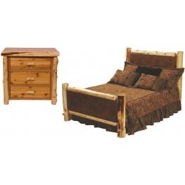 Traditional Cedar Leather Upholstered Bedroom Set