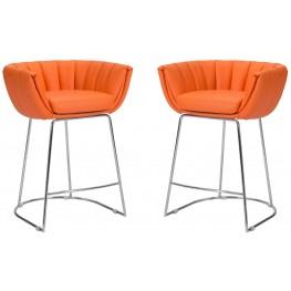 Latte Orange Counter Chair Set of 2