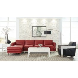 Melbourne Berry Red Leather LAF Sectional