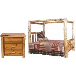 Traditional Cedar Youth Canopy Log Bedroom Set